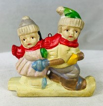 Old Fashioned Boy & Girl Skiing Christmas Holiday Ornaments Porcelain 3 ... - $9.74