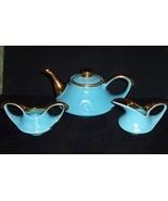 Vintage Teapot, Sugar Creamer set TURQUOISE BLUE & 22 KT Gold PEARL CHIN... - $39.59