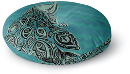 Kess InHouse Brienne Jepkema Peacock Blue II L Green Round Floor  26' - $121.13