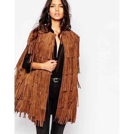 WOMEN'S NEW IN FASHION FRINGES SUEDE LEATHER CAPE PONCHO BOHO HIPPY SHAWL WC132 image 4