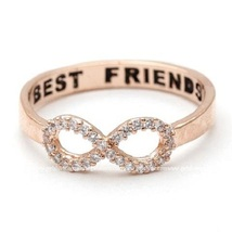 Rose Gold Plated 925 Silver White CZ Infinity Best Friend Ring & Free Sh... - $62.99