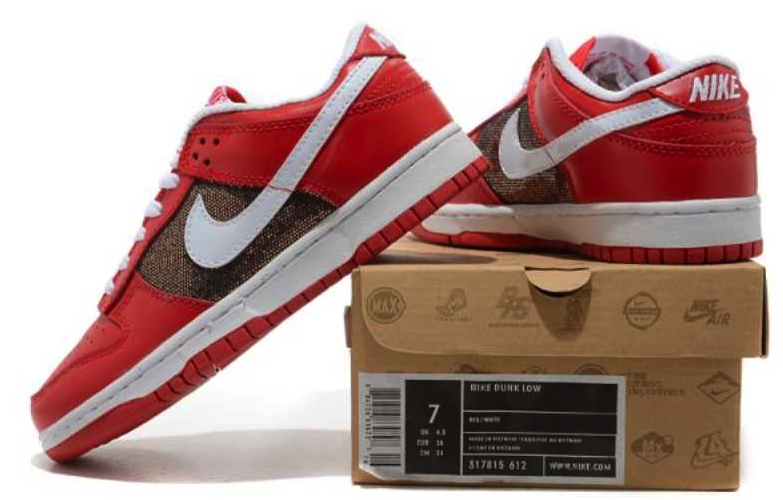 NIB Nike Dunk Low CL Red White Casual Sneakers Leather Women's Shoes 317815 612