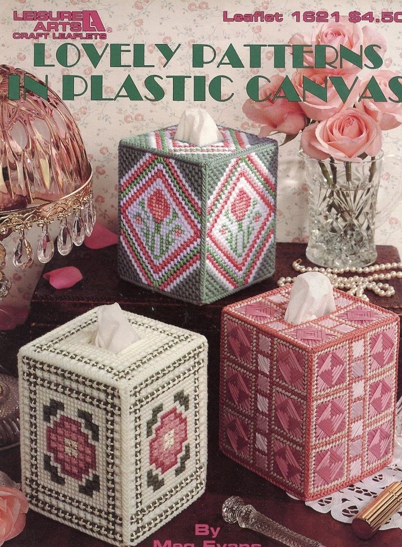 Lovely Patterns Tissue Covers LA1621 Plastic Canvas PATTERN/Instructions Booklet