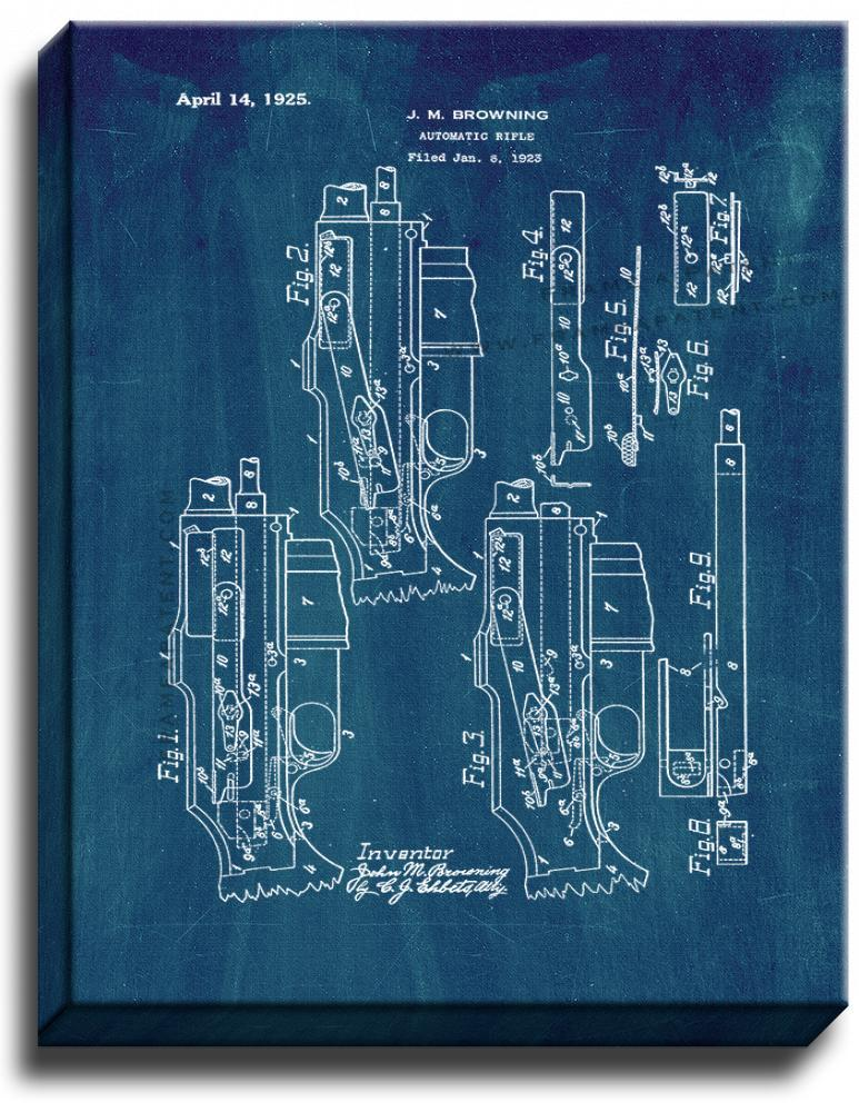 Primary image for Browning Automatic Rifle Patent Print Midnight Blue on Canvas