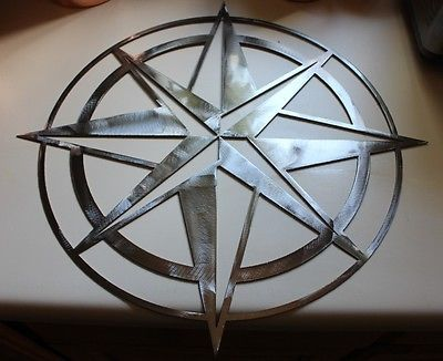 "Nautical Rose Metal Wall Art 20"" Silver Polished Steel"