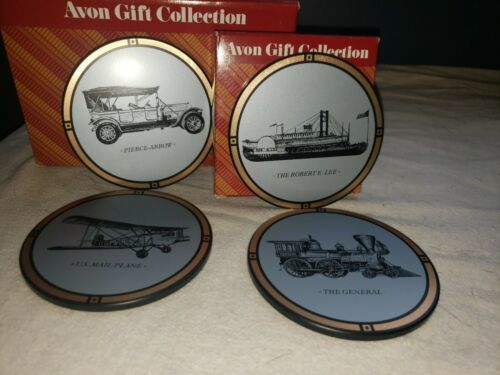 Avon Gift Collection America On The Move 22k Gold Trim Glass Tumblers & Coasters