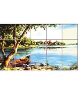 Dollhouse Boat Lake Picture Mosaic Tile Sheet WM34885 World Model Miniat... - $2.35