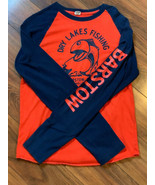 Dry Lakes Fishing Shirt Orange Blue Baseball Barstow CA Vintage Trusty Tees - $25.00