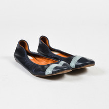 Lanvin Blue Leather Genuine Snakeskin Trim Ballet Flats - $130.00