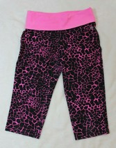 Xersion Girls Capri Pants Size Small 7 8 Black Pink Rolled Down Waist Ca... - $17.41