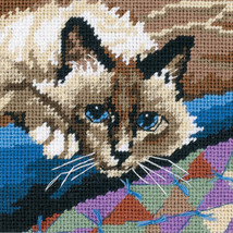 "Dimensions Mini Needlepoint Kit 5""X5""-Cuddly Cat Stitched In Floss - $11.68"