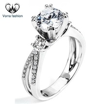 Round Cut CZ 14k White Gold Plated Sterling Silver Criss Cross Engagemen... - ₨5,090.94 INR