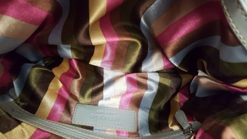 Tignanello Bluish Grey Leather Shoulder Bag Organizer Hobo Buckle Accent, EUC  image 6