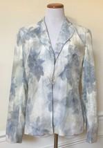 GIORGIO ARMANI White Blue Watercolor Floral Woven Jacket Blazer Coat Italy 10 - $99.99