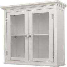 Bathroom Wall Cabinet White 2 Door Glass Home Bath Storage Organizer Toi... - $79.52