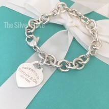 """8"""" Please Return to Tiffany & Co Sterling Silver Heart Tag Charm Bracelet - $325.00"""
