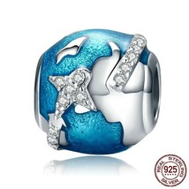 Unisex Sterling Silver Travel Dazzling CZ Blue Enamel Bead Fit Bracelet ... - $19.99