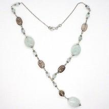 Necklace Silver 925, Aquamarine Oval, Quartz Smoky Oval and round, Pendant image 2