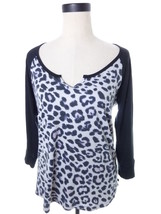 VS Black Gray Snow Leopard Pajama Lounge Top Medium Victoria's Secret - $14.00
