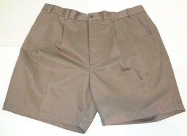 Roundtree & Yorke Size 50 ELASTIC WAIST Brown Cotton Pleated New Mens Sh... - $33.18
