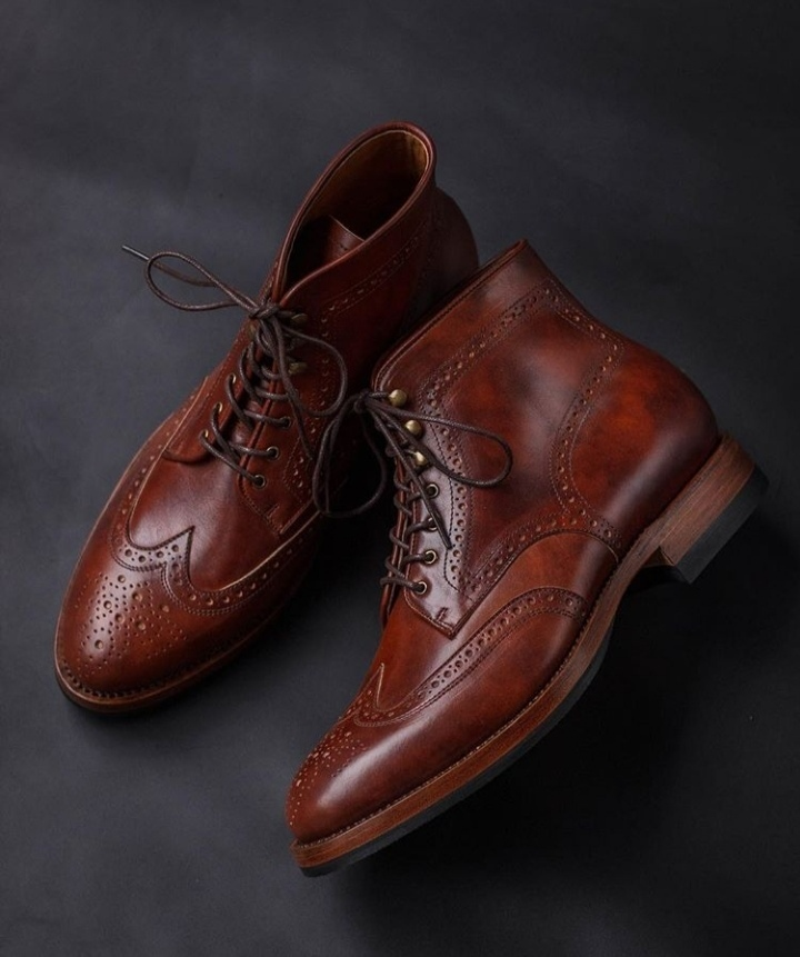 Wing Tip Maroon Brown Color High Ankle Premium Leather Oxford Men Lace Up Boots image 2