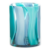 "Waves of Blues Cylinder Art Glass Vase Small 6.5"" High - $38.95"