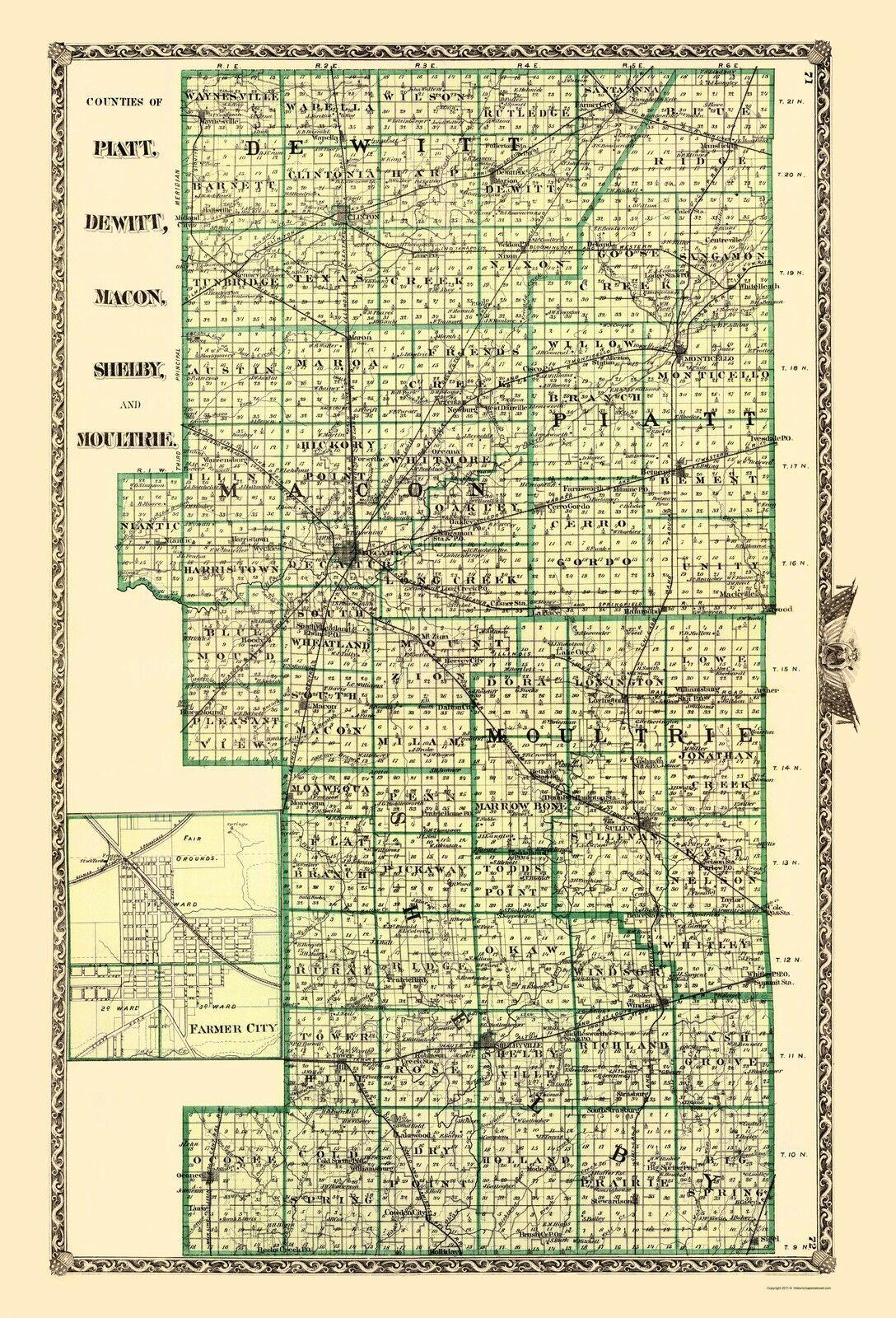 Piatt  Dewitt  Macon  Shelby  Moultrie Illinois - Warner 1870 - 23 x 33 - $36.95 - $94.95