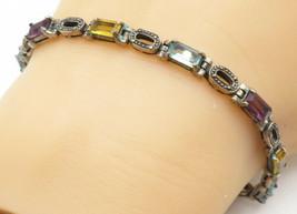 925 Silver - Vintage Amethyst Aquamarine & Citrine Chain Bracelet - B5042 - $56.38
