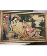 Antique Hand Woven Tapestry Man with Lyre and Woman by the Hellespont - $2,128.49