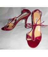 MANOLO BLAHNIK Pumps Red Leather Sz 39/8.5 Open Toe Stiletto High Heel S... - $103.94