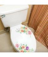 Colorful Peony Toilet Sticker Bathroom Decoration Vinyl Wall Decals Adhe... - $5.98