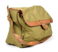 Vintage Hartmann Shoulder Bag Leather Nylon Canvas Green Brown Messenger... - $19.79