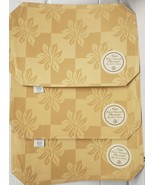 """SET OF 3 DAMASK FABRIC PLACEMATS 12""""x18"""", FLOWERS ON YELLOW/GOLD CHECKERBOARD,BH - $14.84"""