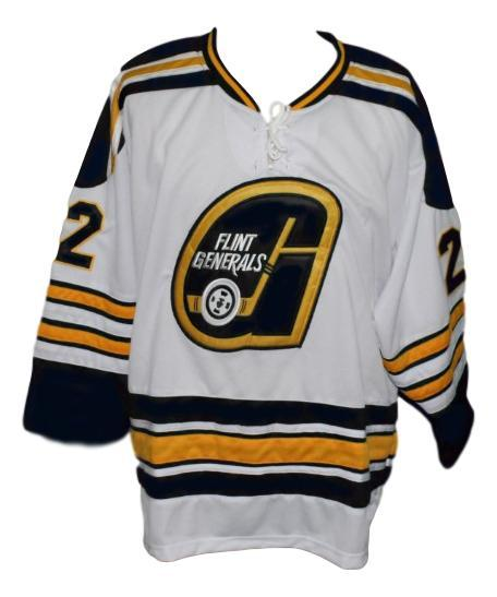 Flint generals retro hockey jersey white   1