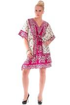 Short Ravishing Elephant Kaftan~Beachwear V-Neck Pink Caftan Tunic~Free Size - $9.12