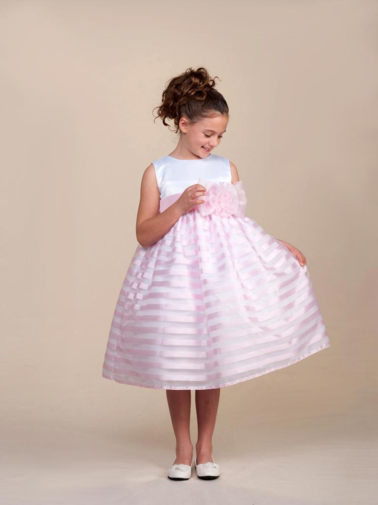 Primary image for Stunning Pink Striped White Top Flower Girl Party Pageant Dress, Crayon Kids USA