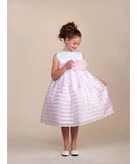 Stunning Pink Striped White Top Flower Girl Party Pageant Dress, Crayon Kids USA - €30,55 EUR