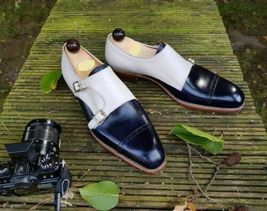Handmade Men's Navy Blue & White Double Monk Strap Leather Shoes image 4