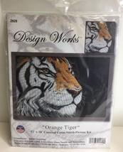 "(New) Counted Cross Stitch Kit, Orange Tiger, Design Works, 12"" x 18"" - $21.77"