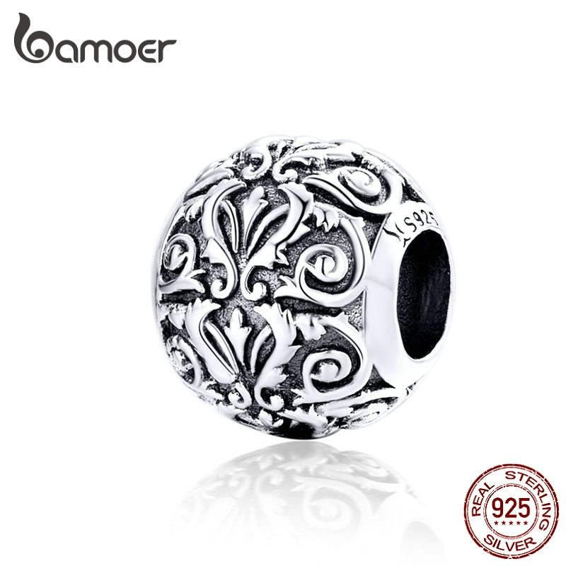 Primary image for BAMOER Vintage Lily Flower Metal Beads 925 Sterling Silver Sparkling Charms Bead