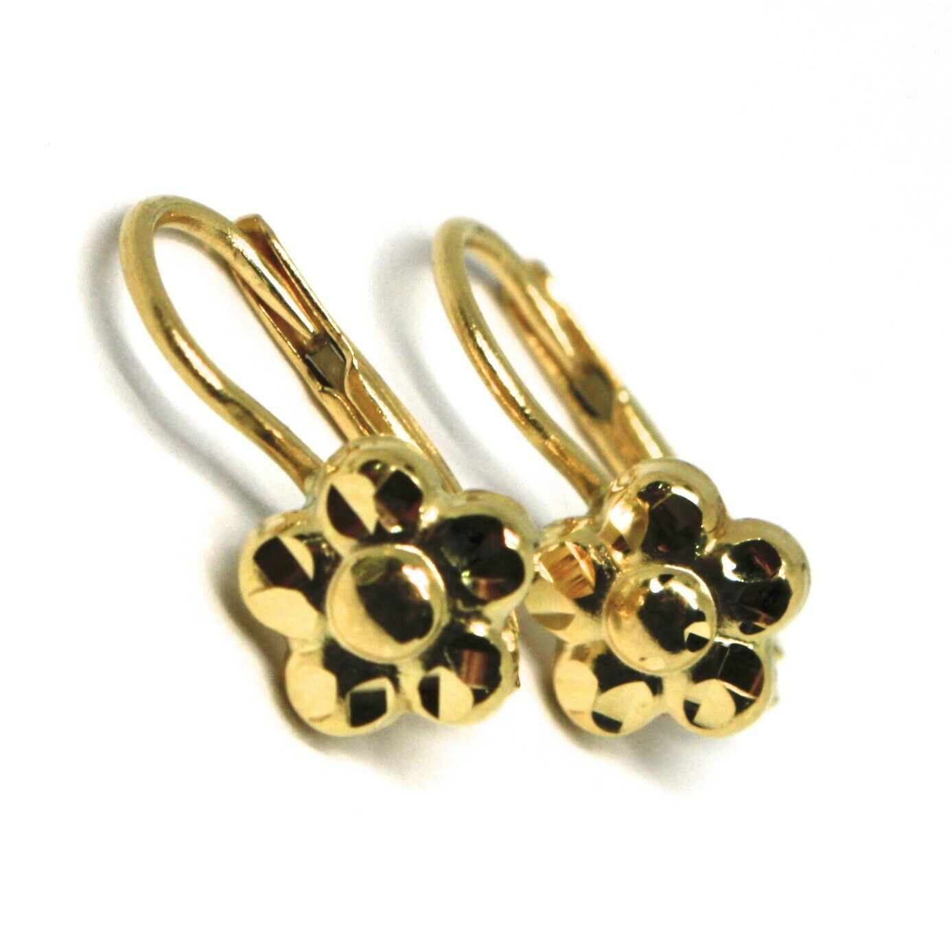 18K YELLOW GOLD KIDS EARRINGS, FINELY HAMMERED FLOWER DAISY LEVERBACK CLOSURE