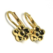 18K YELLOW GOLD KIDS EARRINGS, FINELY HAMMERED FLOWER DAISY LEVERBACK CLOSURE  image 1