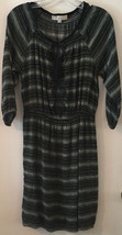 Ann Taylor Loft Black and White Peasant Dress Gathered Waist Size Small - $22.27