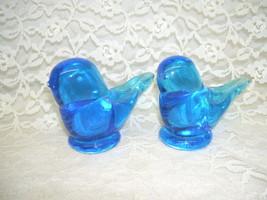 SMITH GLASS BLUE GLASS BIRDS SET / 2 VINTAGE - $29.44