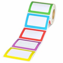"Methdic 5 Colors Adhesive Name Tag Labels, 500 Stickers 3.5"" x 2.25"" Pla... - $12.42"