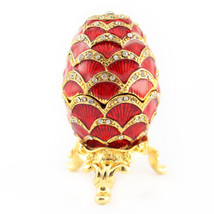 Red Faberge Egg Jewelry Trinket Box Decoration Present Cute #MCK11 - $31.17