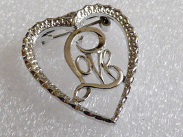 VTG silver tone heart love pin brooch - $14.85