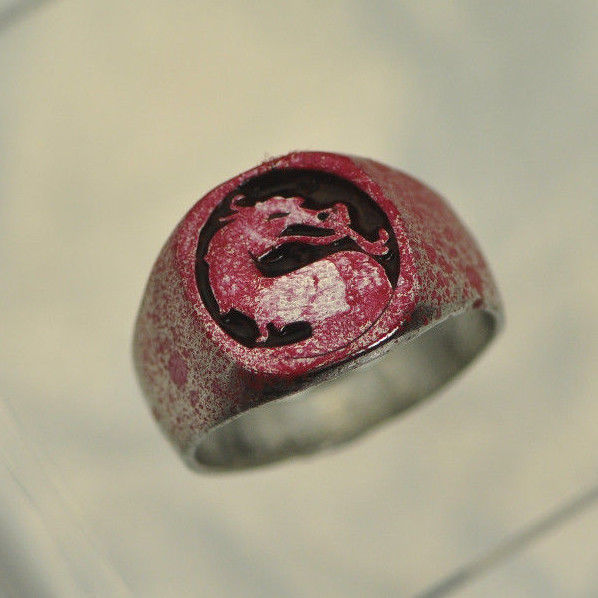 Mortal Kombat Sterling Silver Blood Spatter Fatality Tournament Game Ring New