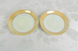 "2 Vintage Lusterware Small Plates Peach White Thin Black Line Trim 5.5"" - $11.87"