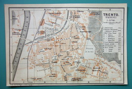 1905 MAP Baedeker - ITALY Trento City Plan - $6.71